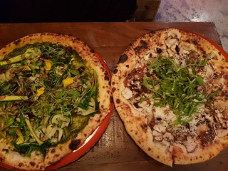 Supergreen Pizza and Mushroom Pizza at Red Sparrow