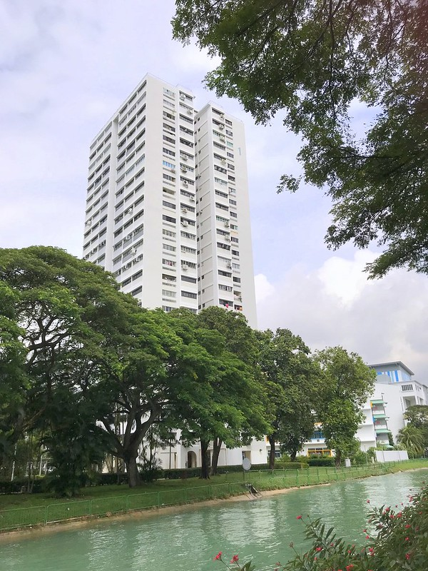 The canal and tree-lined Siglap Park Connector