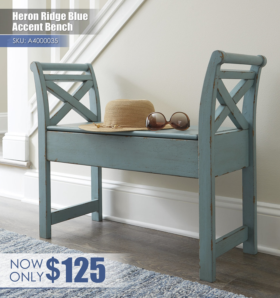 A4000035 - Heron Ridge Blue Accent Bench $125