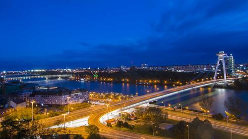 An aerial view of Bratislava city split by Donau River