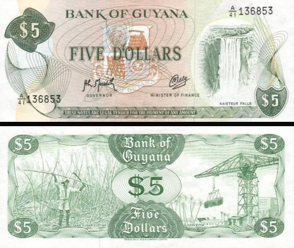 5 Dolárov Guyana 1992, P22f