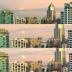 Watched the #fullmoon :full_moon_with_face: set over #bangkok this morning! Thanks @guentheralex for mentioning it on your way out!
