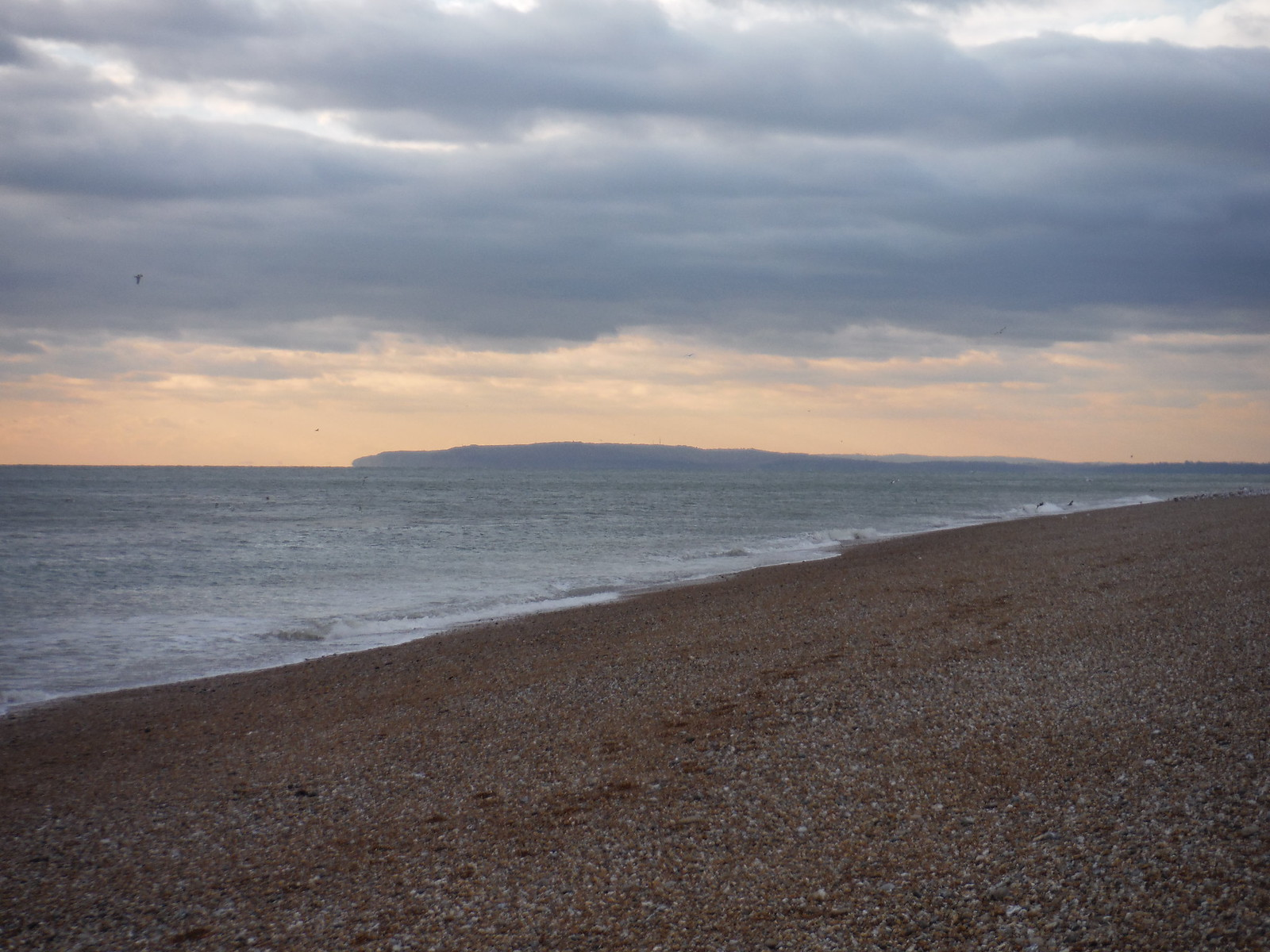 Cliffs towards Hastings from Dungeness Beach SWC 154 - Rye to Dungeness and Lydd-on-Sea or Lydd or Circular