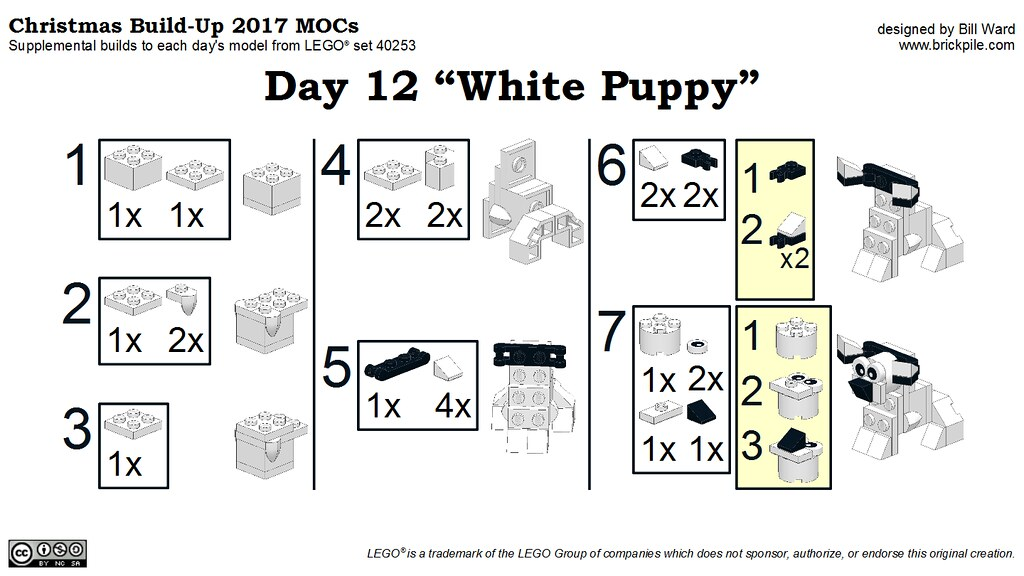 "Christmas Build-Up 2017 Day 12 ""White Puppy"" MOC Instructions"