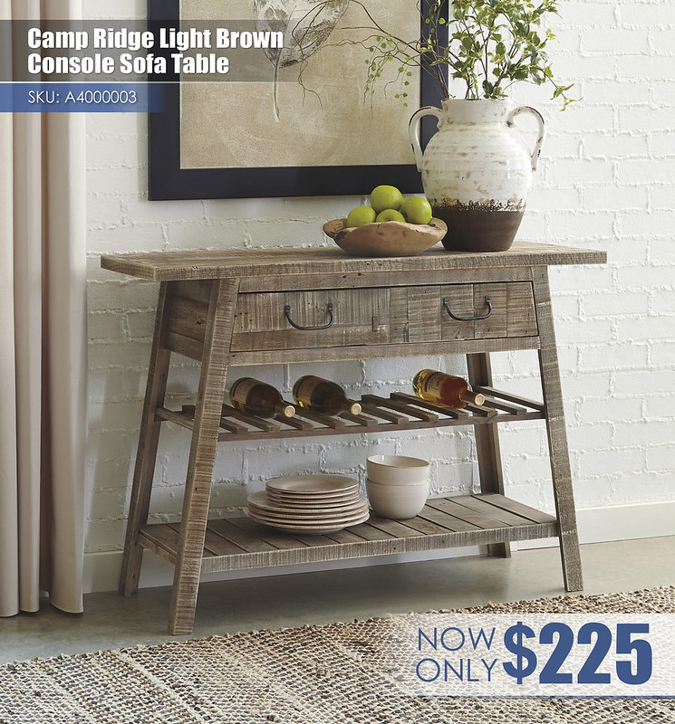 A4000003 - Camp Ridge Light Brown Console Sofa table $225