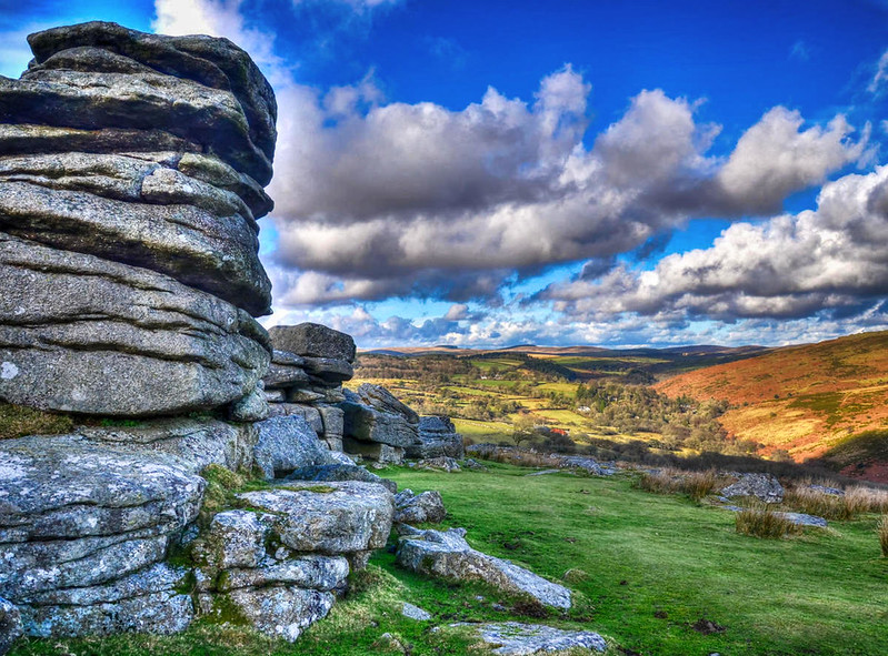 Combestone Tor in the centre of Dartmoor. Credit Baz Richardson, flickr