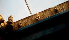 """""""Compluvium"""" (=rain picker) with original terracotta eaves-gutter as dog's heads - House of the Wooden Partition at Herculaneum, buried by Vesuvius' eruption on 79 AD"""
