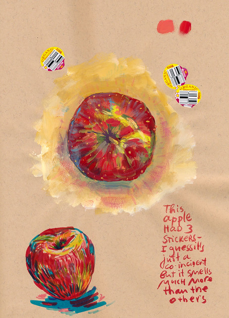 Sketchbook #109: An Apple with Three Stickers