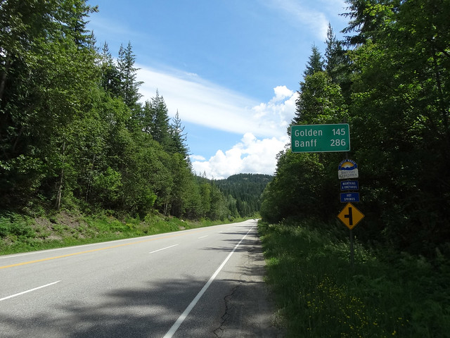Trans-Canada Bicycle Trip 2017. Leaving Revelstoke for Golden, British Columbia.  Trip Section - Salmon Arm, British Columbia to Field, British Columbia, Canada