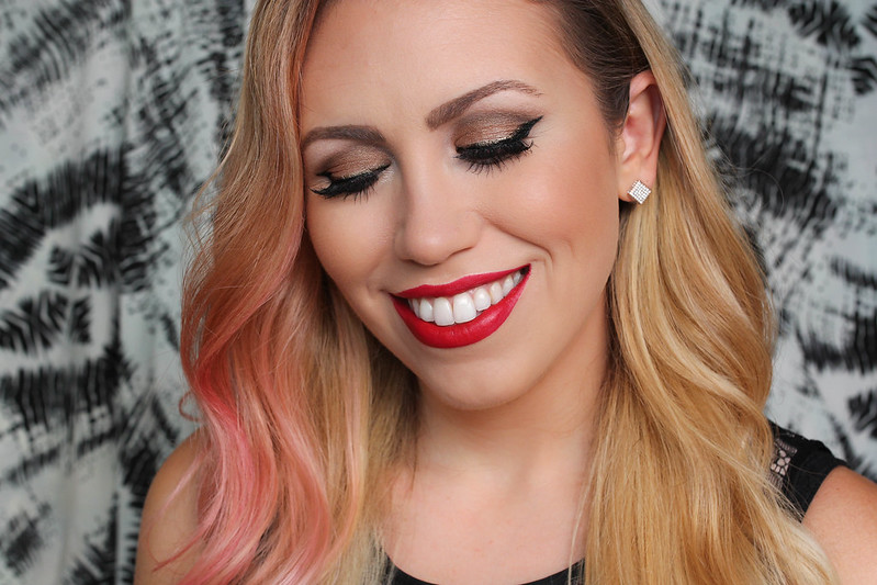Edgy Holiday Makeup Tutorial Metallic Cat Eye Red Matte Lipstick
