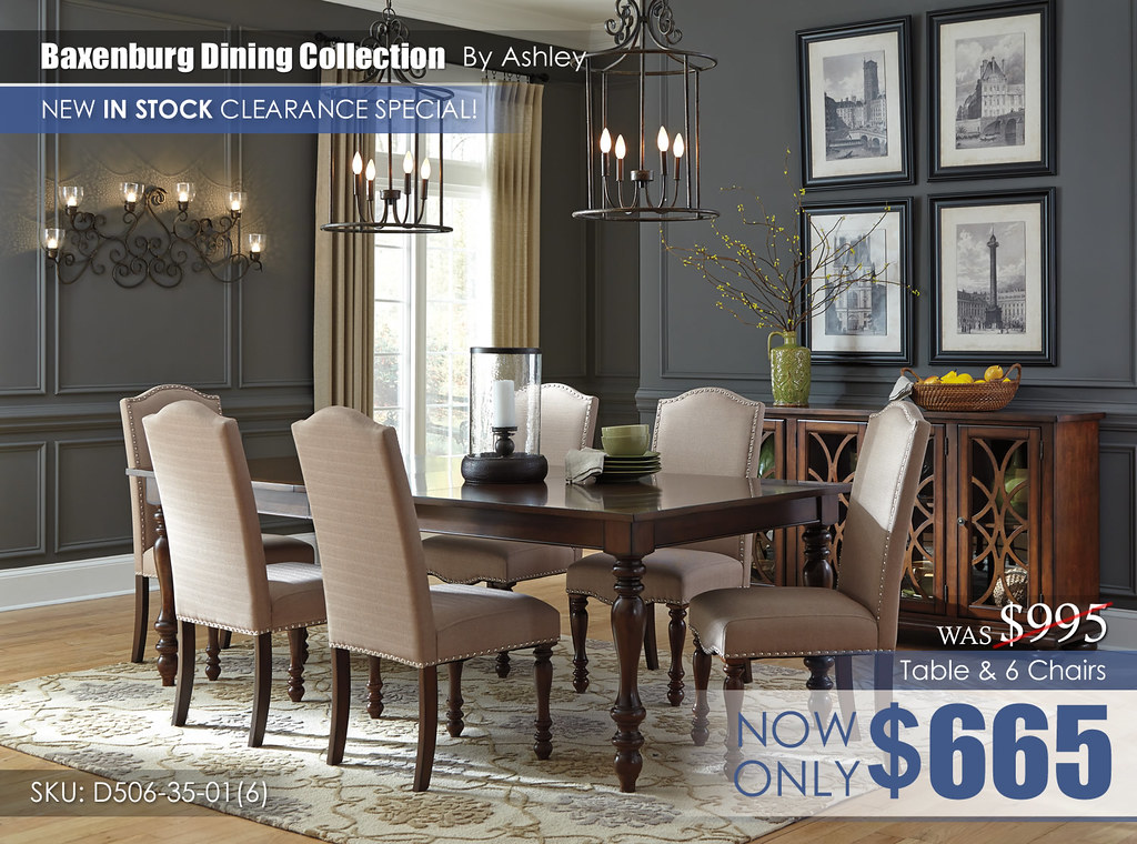 Baxenburg Dining Set & 6 Chairs D506
