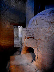 Oven of baker's shop with two propitiatory phallic signs, as modern oven of Neapolitan pizza's - Herculaneum, buried by Vesuvius' eruption on 79 AD