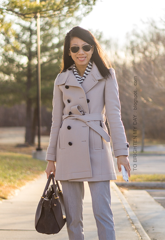 striped scarf, gray wool trench coat, gray pants, gray tote, gray suede pumps