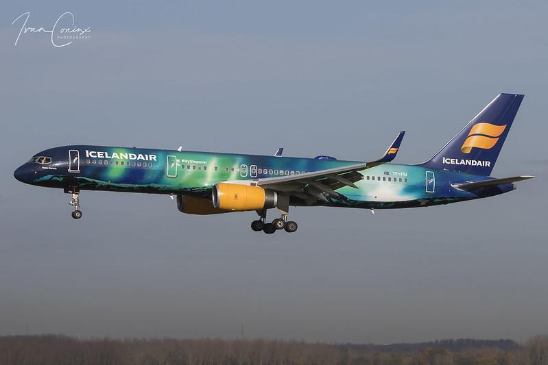 Boeing 757-25C – Icelandair – TF-FIU – Brussels Airport (BRU EBBR) – 2017 11 17 – Landing RWY 25L – 03 – Copyright © 2017 Ivan Coninx