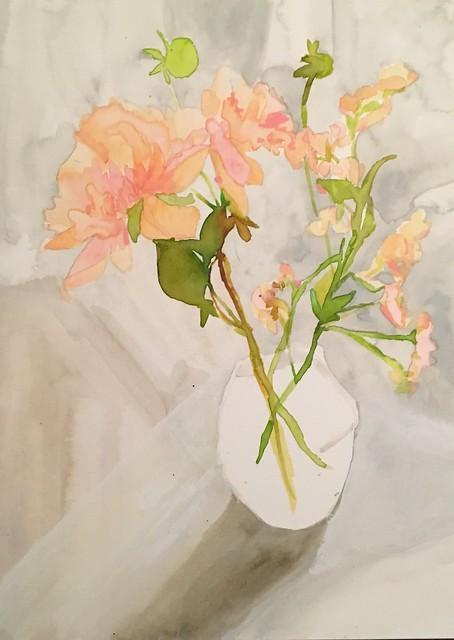 Sherbert pink blossom still life, 2017, 12x16