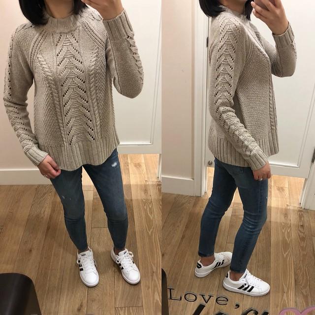 LOFT Stitchy Cable Sweater, size XS regular