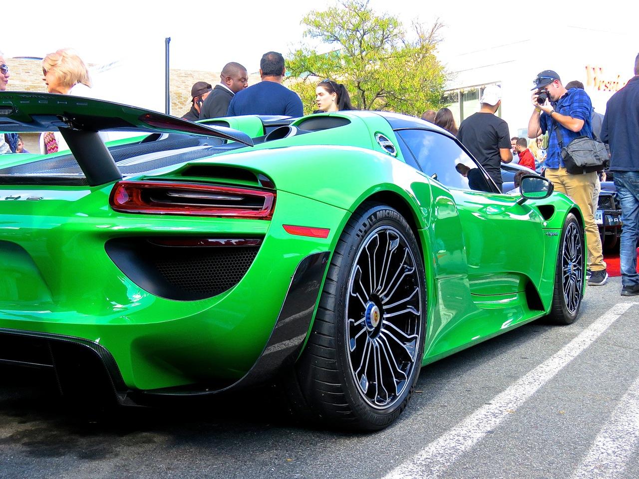 Green Porsche 918 Cars and Caffe 4