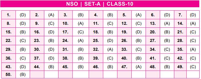 NSO Answer Keys Class 10
