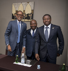 President Kagame meets with President Ali Bongo Ondimba of Gabon and President Faure Gnassingbe of Togo, on the sidelines of the 5th AU-EU Summit 2017 | Abidjan, 30 November 2017