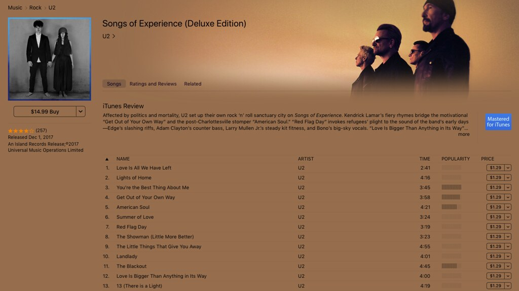 Songs Of Experience - iTunes