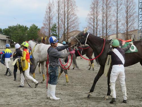 金沢競馬場で鞍を下ろす服部大地騎手