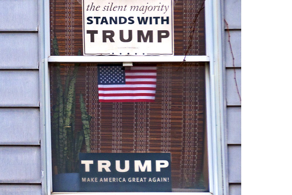 House with Trump signs in second floor windows--Passyunk Square (detail 2)