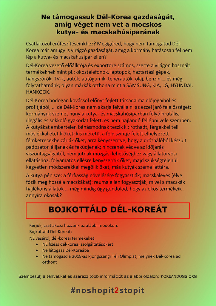 South Korea's filthy dog meat trade #noshopit2stopit in Hungarian