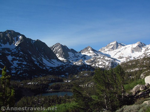 Overlooking the Little Lakes Basin. I think (!) (L-R) the ponds are Heart Lake and Box Lake, while the peaks are an arm of Mt. Morgan, UN12744, and three unnamed peaks. Inyo National Forest, California