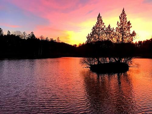 2017 fall november beautiful red orange island lake sunset color pink serene trees cranbrook michigan