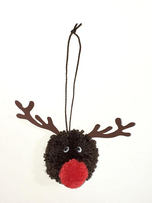 DIY Rudolf pompones lana