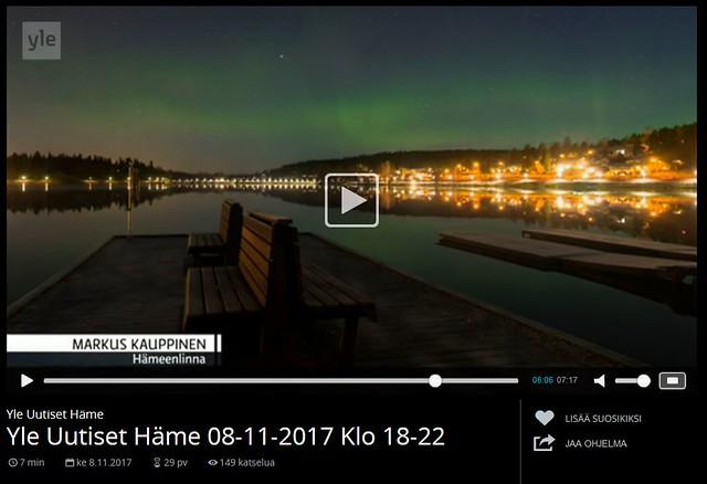 Yle Häme sääkuva - Revontulet Hämeenlinnassa