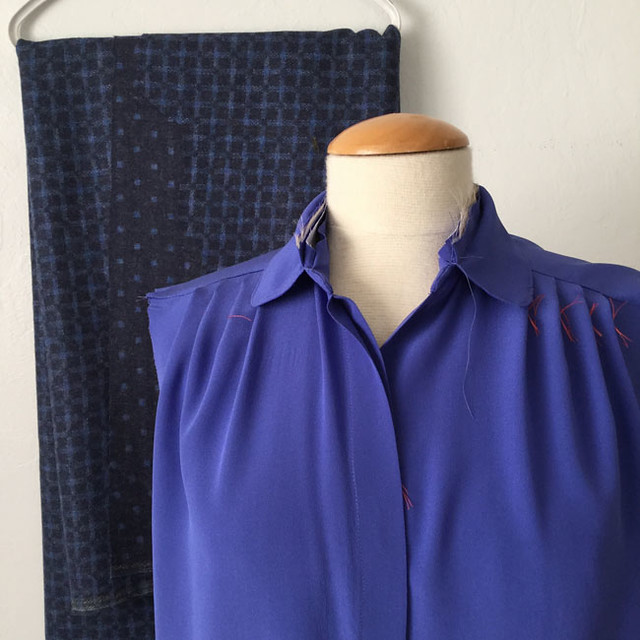blue silk with wool