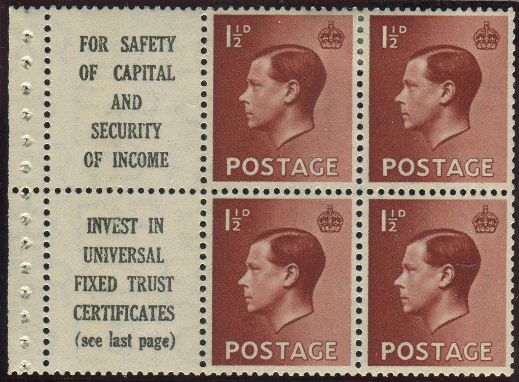 Great Britain - Scott #232b booklet pane of four with two advertising labels.