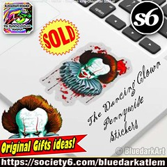 SOLD again!  The #DancingClown - #Pennywise #IT - #Vector - #StephenKing #Character #Stickers> https://goo.gl/tMTDsS                  #Design by BluedarkArt - Society6 #Shop> https://society6.com/bluedarkatlem         Many Thanks to the Customer!  25% OFF