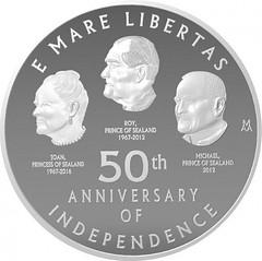 Sealand 50th anniversary coin reverse