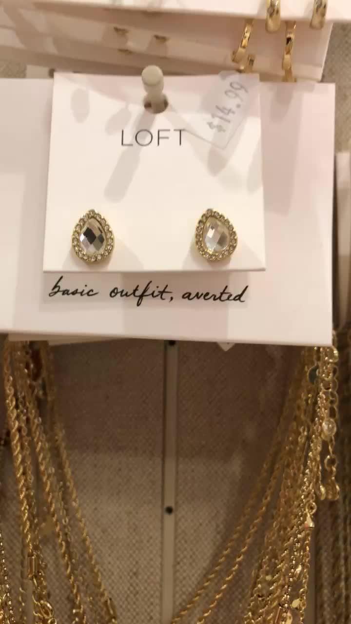 LOFT Pave Teardrop Stone Stud Earrings