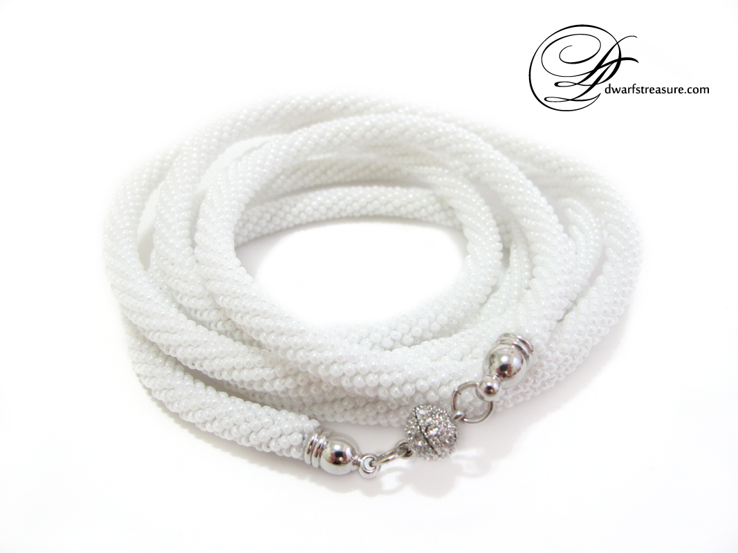 Amazing white beaded long necklace