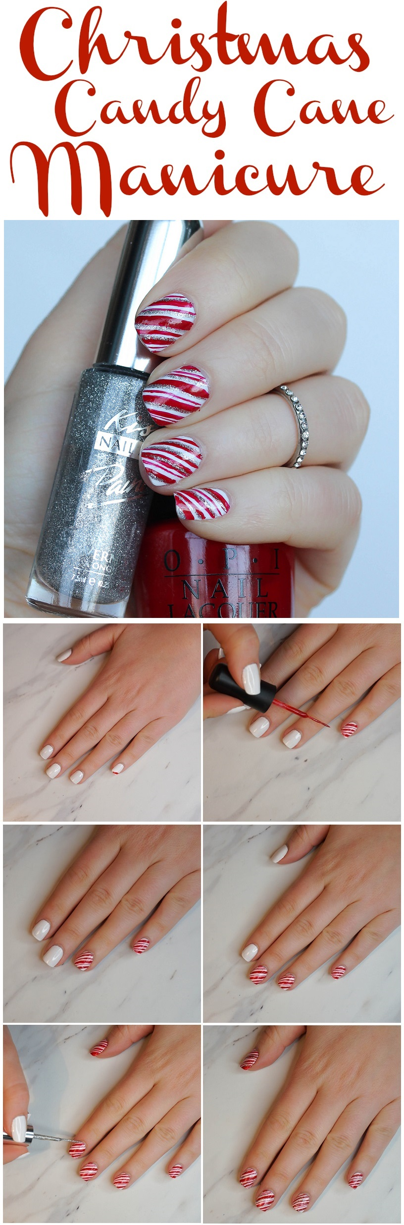 Easy Step-by-Step Christmas Candy Cane Manicure Tutorial