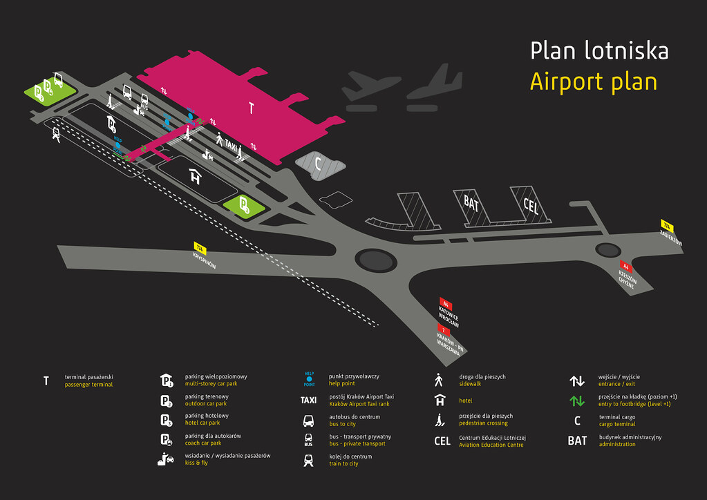 Plan de l'aéroport de Cracovie