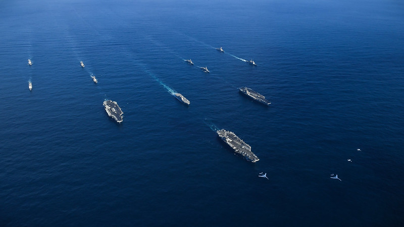 Three U.S. Navy Carrier Strike Groups Coordinate Operations in the Western Pacific