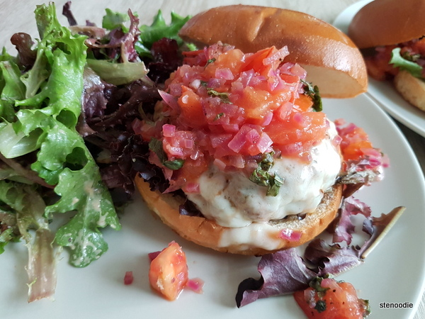 Pork Bruschetta Burgers with Provolone Cheese and a Field Green Salad