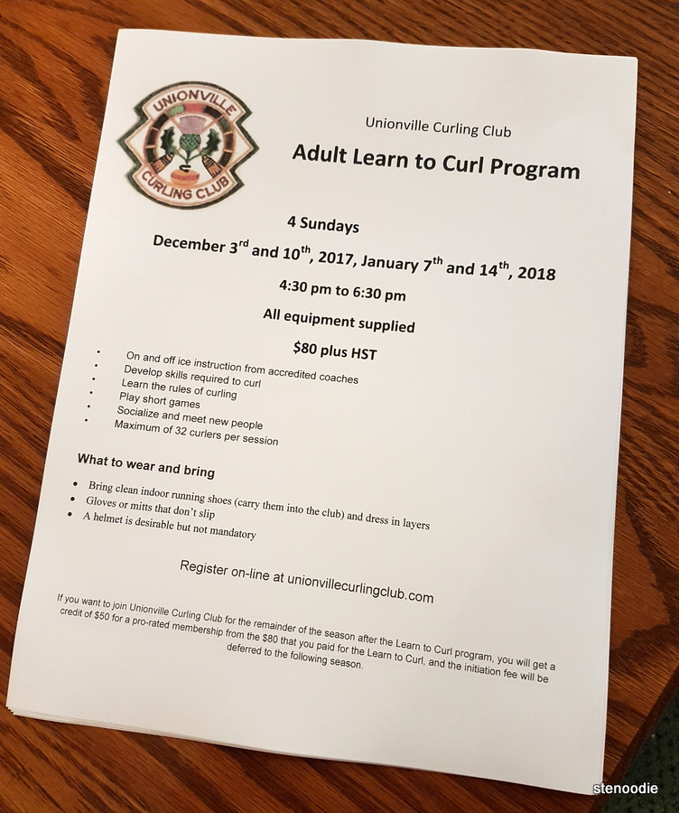 Adult curling program info
