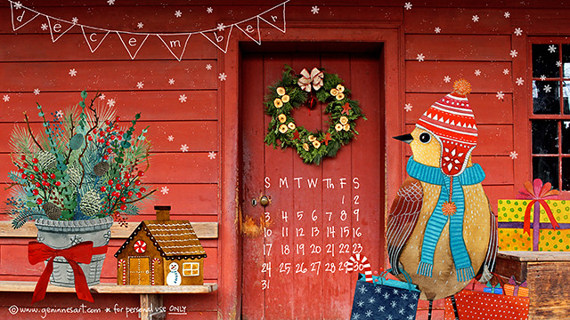 December '17 desktop calendar
