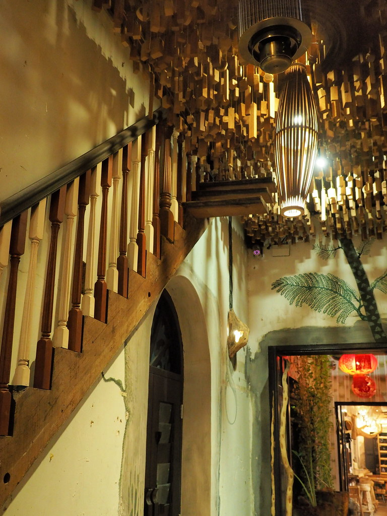 Wall decoration with this stair at The Happy 8 Cafe, Old Town Ipoh