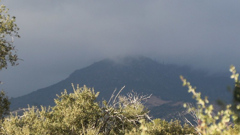 The clouds are rolling in - zoomed-in view of misty clouds on Cuyamaca Peak