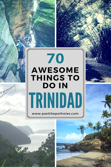 """Four images of places in Trinidad with text """"70 Awesome Things to do in Trinidad""""."""
