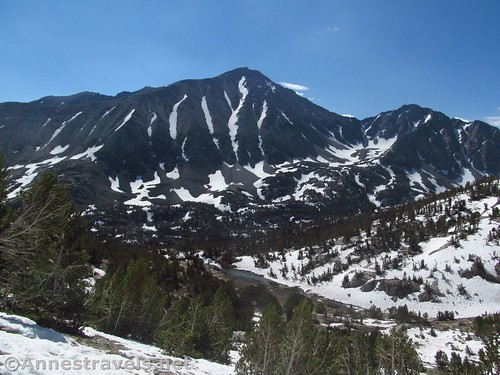 Mt. Morgan; below is where the Ruby Lake Trail splits off from the Mono Pass Trail, Inyo National Forest, California