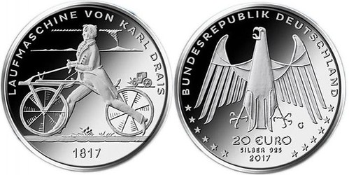 Sellos y monedas dedicadas al II Centenario de la invención de la bicicleta.