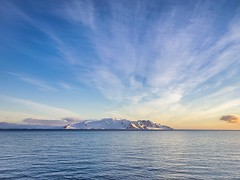 #Summer #sunset in #Antarctica with a #snow-covered #mountain in the #background