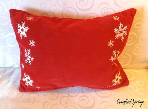 Close-up of DIY Christmas Pillow.